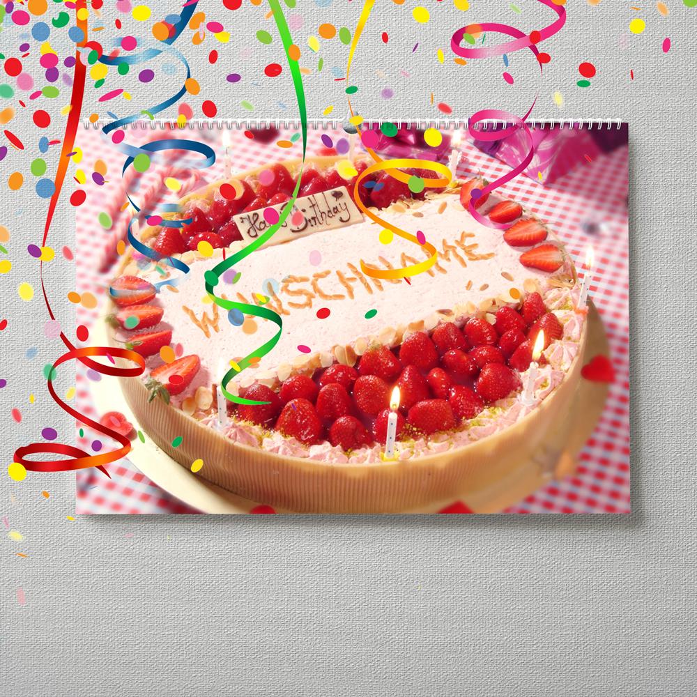 Kalender mit Namen zum Geburtstag – Erdbeerkuchen