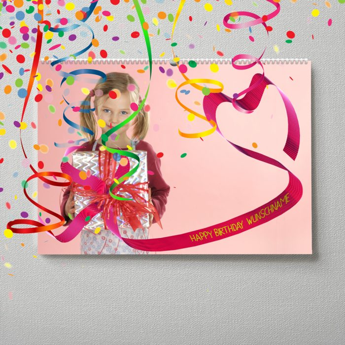 Kalender mit Namen zum Geburtstag – Mädchen mit Geschenk