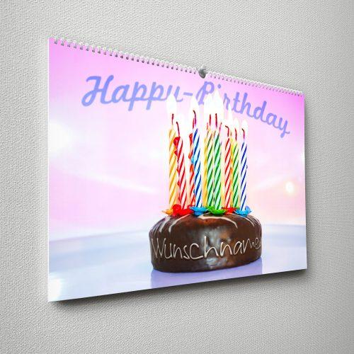 Kalender mit Namen zum Geburtstag – Torte mit Kerzen