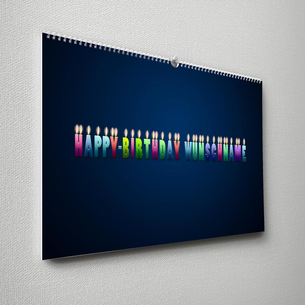 Kalender mit Namen zum Geburtstag – Buchstabenkerzen blau