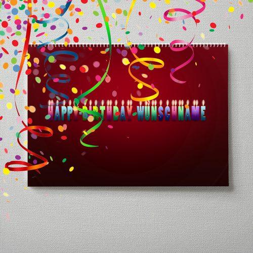Kalender mit Namen zum Geburtstag – Buchstabenkerzen rot
