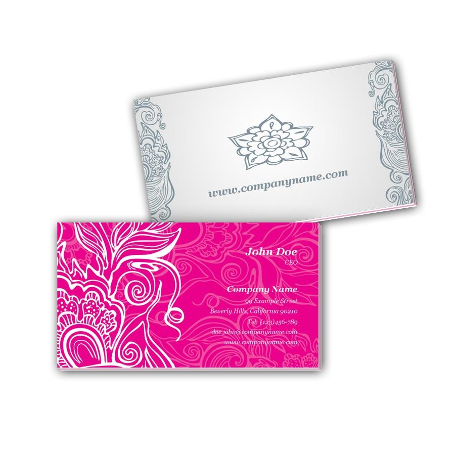 Visitenkarten mit Farbkern - Blumenmuster