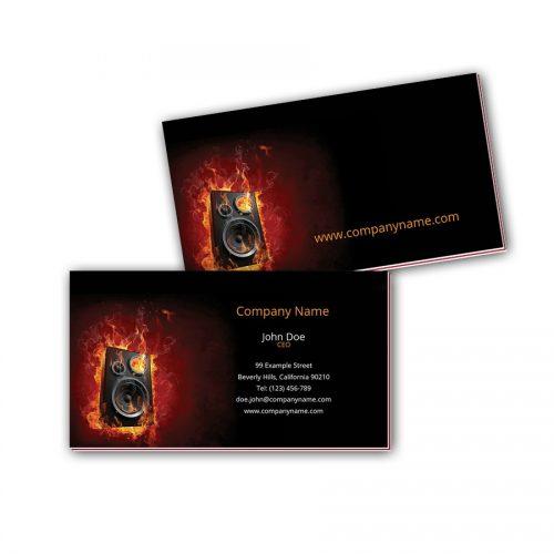 Visitenkarten mit Farbkern - Brennender Lautsprecher