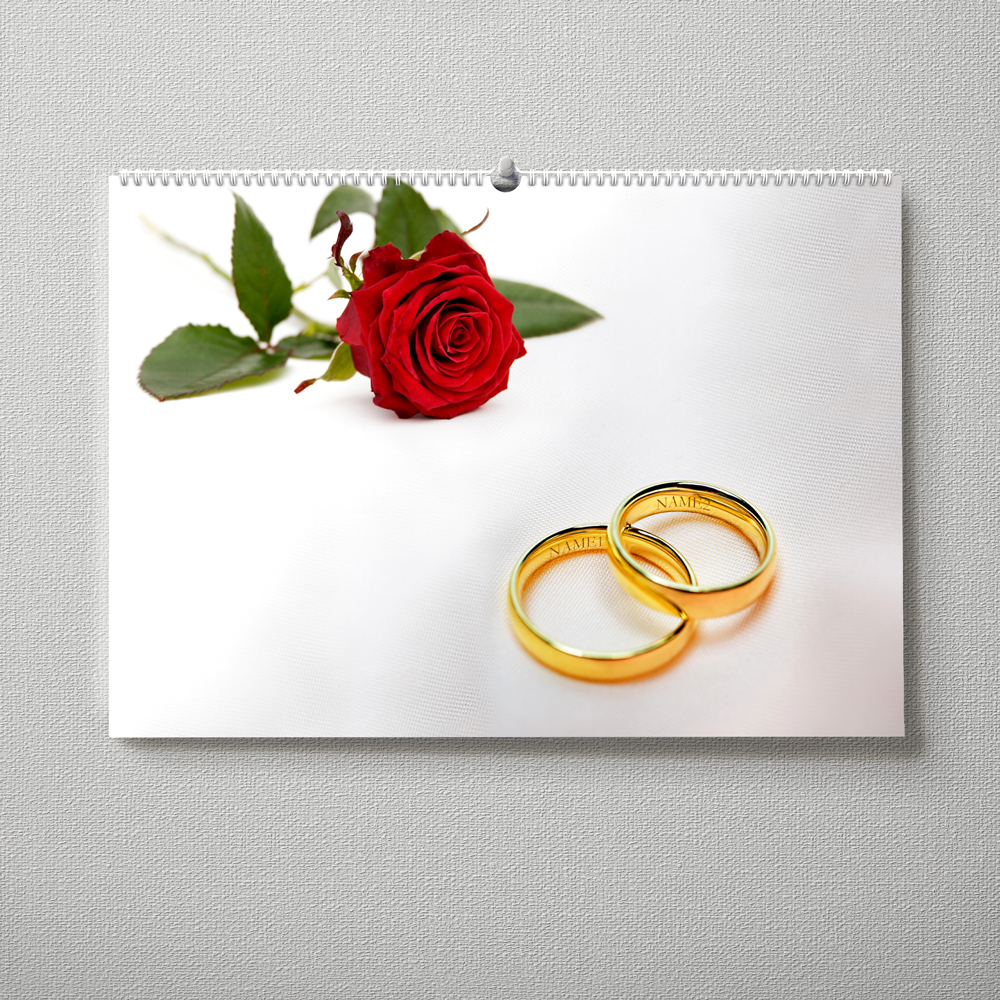 Hochzeitskalender Trauringe und Rose