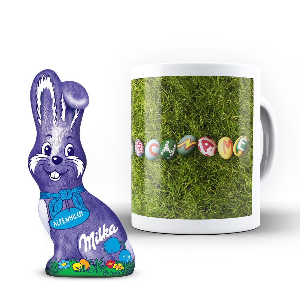 Tasse mit Namen zum Osterfest + Milka Schmunzelhase (60g)